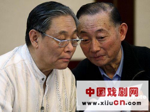 梅兰芳大师的儿子梅宝九和著名京剧艺术家张学津参加了文艺小组讨论