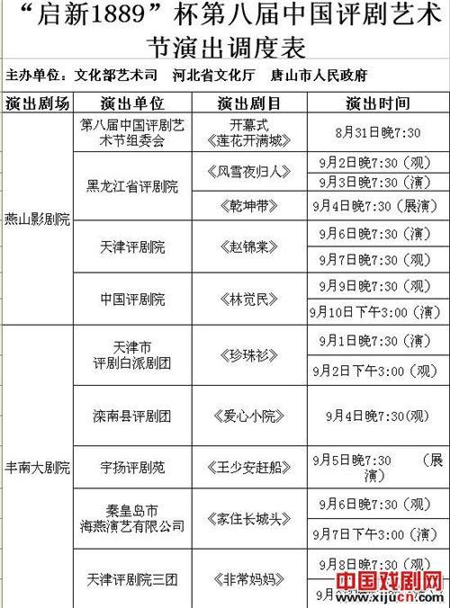 平剧节四大剧场的剧目和时间表