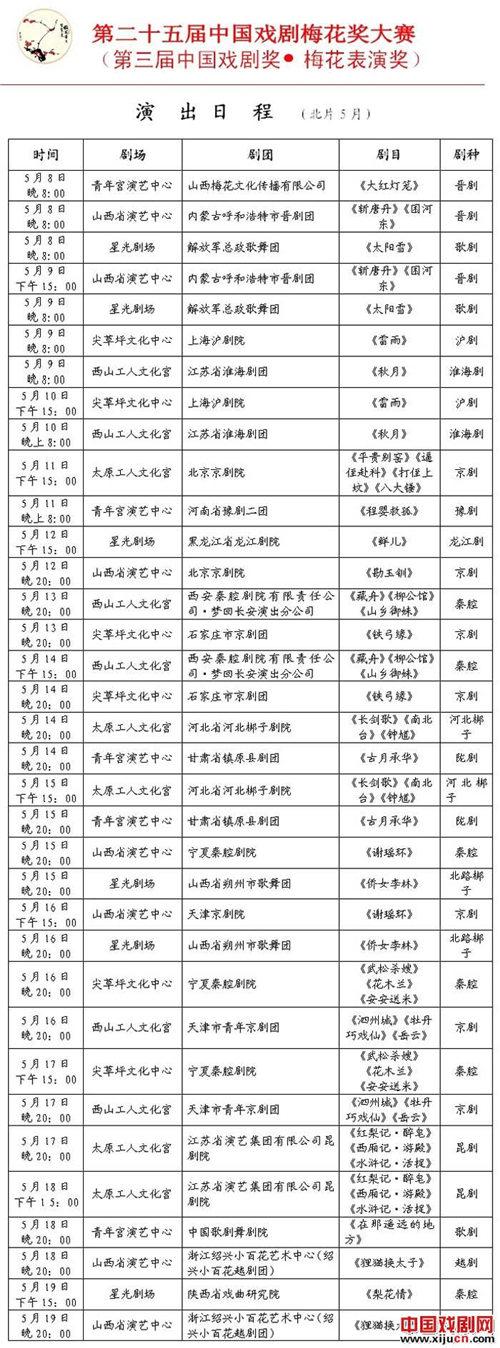 第25届中国戏剧梅花奖竞赛表演日程(第三届中国戏剧梅花奖)(北方电影)