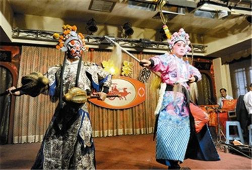 """刘蓉生京剧团表演""""八锤""""和""""告别沙桥"""""""