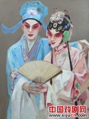画家刘方云用油画表达了对京剧的敬意。
